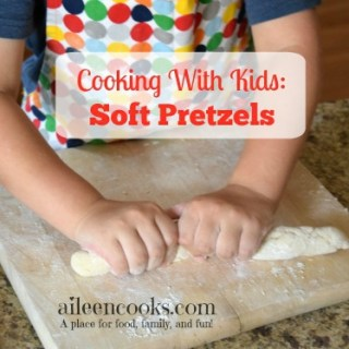 Cooking With Kids: Soft Pretzels. Get your kids in the kitchen with this fun recipe for soft pretzels. This recipe makes traditional salted soft pretzels and cinnamon sugar soft pretzels. Recipe from aileencooks.com.