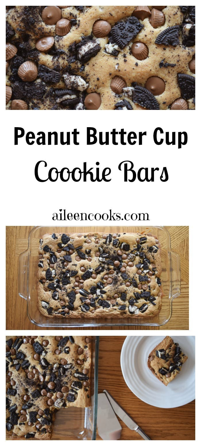 Peanut Butter Cup Cookie Bars are filled with mini Reese's, Oreos, and semi-sweet chocolate chips. They are so much better than the regular blondies recipe! Recipe from aileencooks.com
