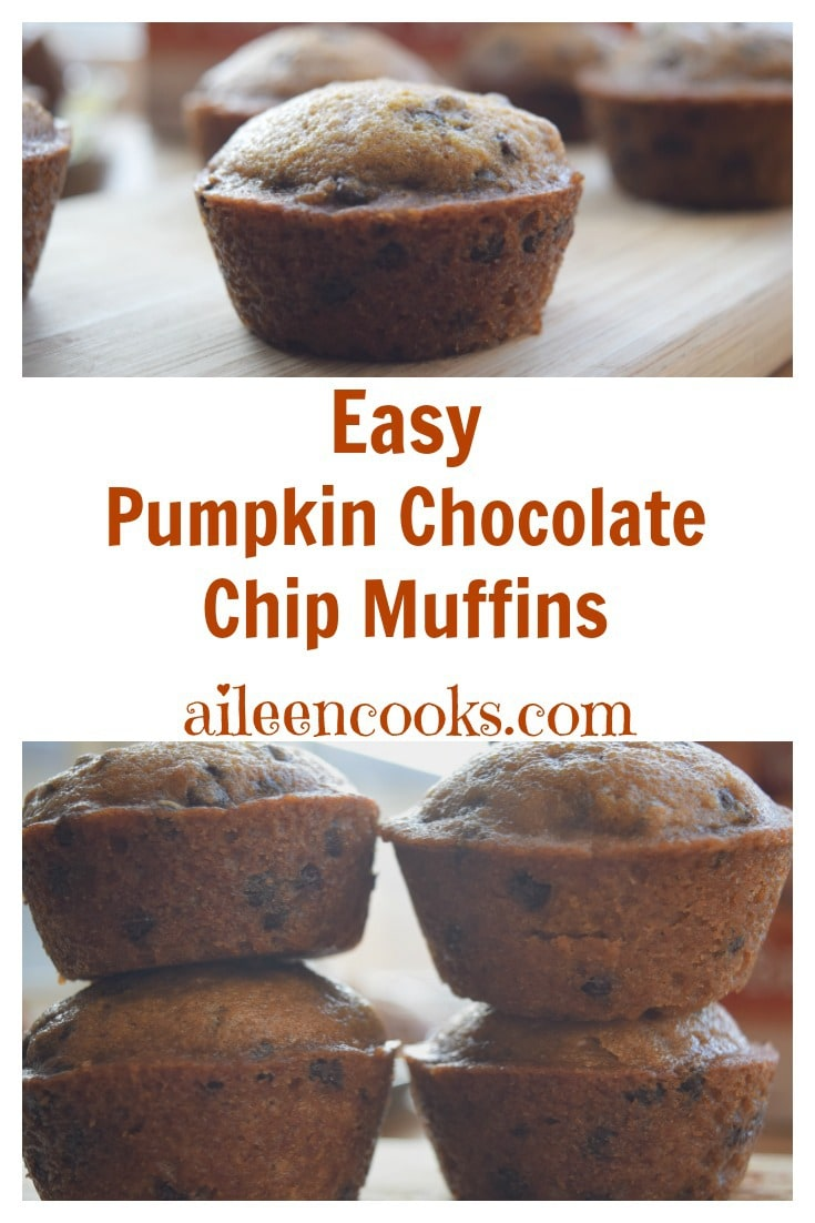 Quick and easy pumpkin chocolate chip muffins, perfect for breakfast, sports games, or pot lucks. This recipe takes 30 minutes and makes 3 dozen muffins! Recipe from aileencooks.com. #ad