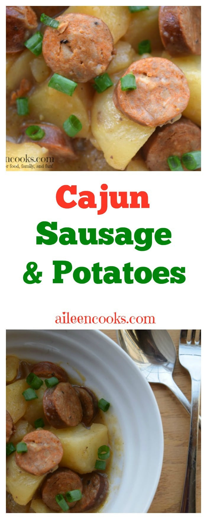 Crockpot Cajun Sausage and Potatoes is the perfect 5 ingredient slow cooker recipe you have been looking for! Recipe from aileencooks.com