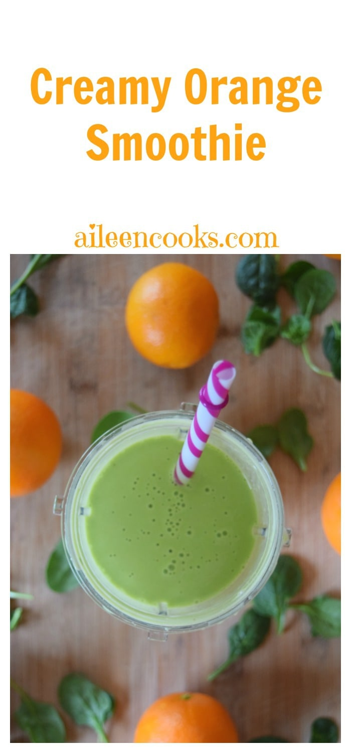 Creamy Orange Smoothie with fresh oranges, baby spinach, and banana all made in the Nutri Ninja® Nutri Bowl™ Duo™. Recipe from aileencooks.com. Green smoothie recipe. Healthy smoothie recipe. Orange Juilius copycat recipe. #ad
