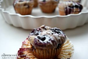Glazed Whole Wheat Mixed Berry Muffins