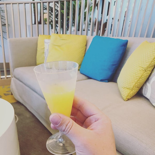 A mimosa in the lounge of the Wyndham Grand Clearwater Beach.