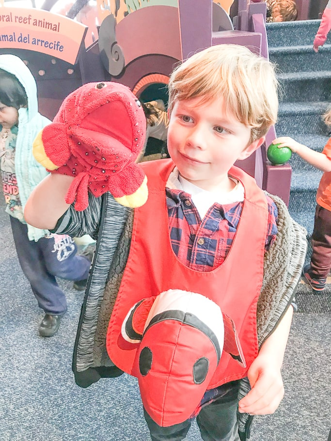 A boy playing with a puppet at the Monterey Bay Aquarium.