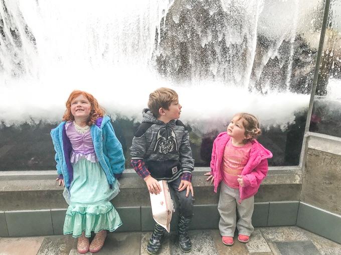 Three kids standing under the wave simulation at Monterey Bay Aquarium.