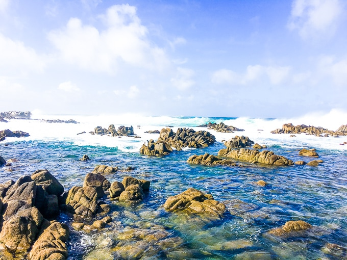 The waves and rocks in Pacific Grove, CA.