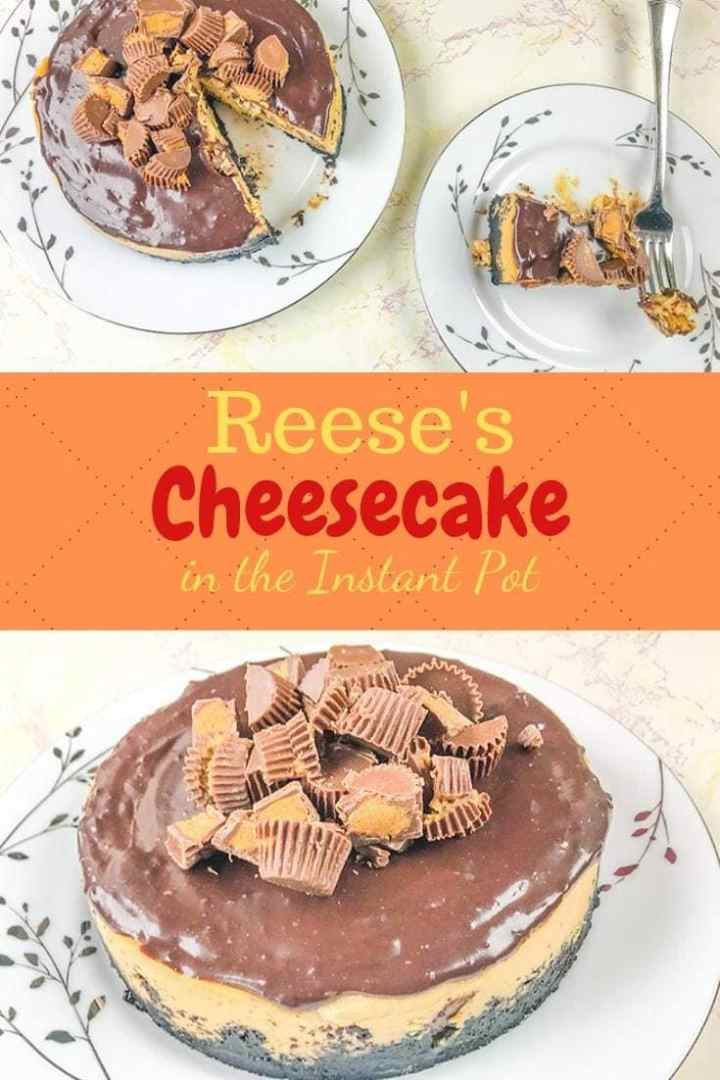 A peanut butter chocolate cheesecake topped with chopped Reese's peanut butter cups.