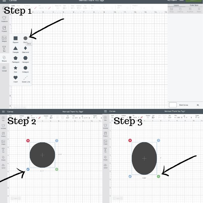 Step by step photo instructions for making a favor tag shape in Cricut Design Space.