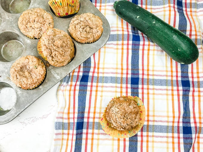 chocolate chip zucchini muffins in a muffin tin with a one muffin on a plaid towel.