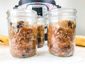 Close up of instant pot banana bread in jars.