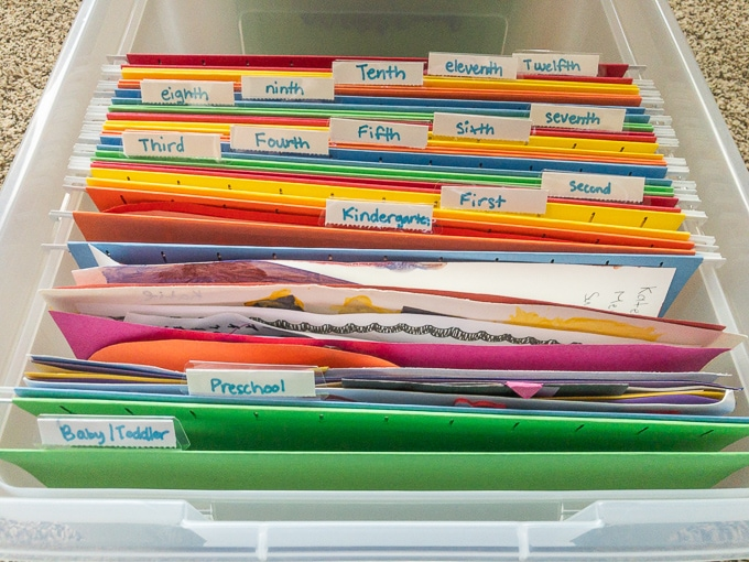 Close up of the files inside a school memory box.