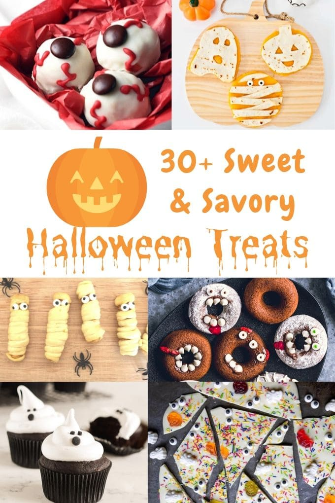 Collage image showing 6 different halloween treats for kids.
