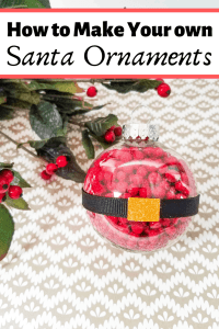 """A red, black, and gold Santa belt ornament with the words """"how to make your own Santa ornaments"""""""