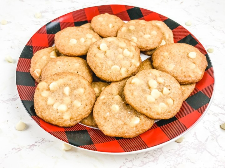 A buffalo check plate filled with salted caramel cookies.