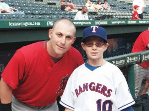 Caleb Spady, a 10 year old with DIPG, dreamed of being a Texas Ranger for a day. On the day his wish came true, the Rangers played the Angels. Reggie Willits, a fellow Okl.ahoman from Caleb's home county, welcomed him personally and continued his relationship with his young neighbor until Caleb passed away from brain cancer in July of 2009.