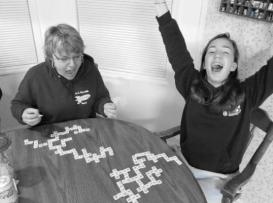 emma beating me at bananagrams again