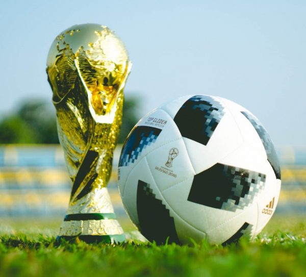 soccer ball with trophy