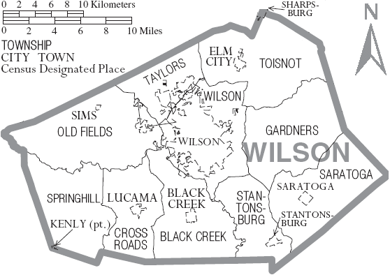 map of wilson, nc