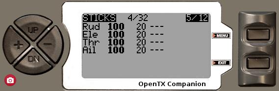 OpenTX2.1 スティック画面(STICKS)