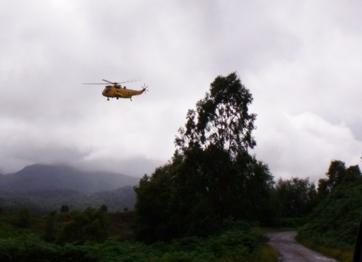 search and rescue sea king helicopter at Glen Affric