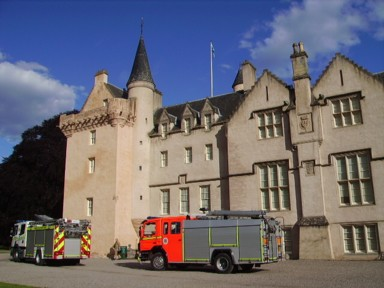 Brodie Castle and fire engines, one of the best castles