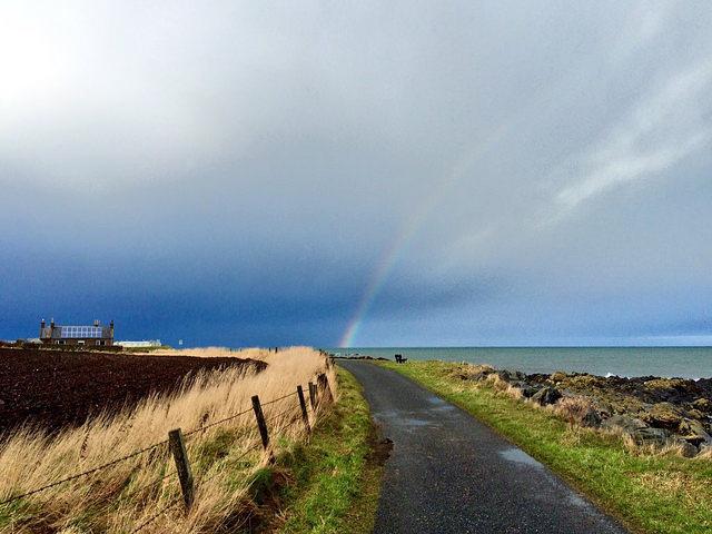 rainbow over the coast