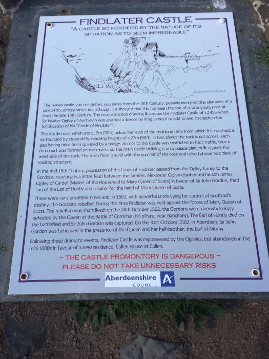 Informational board about Findlater Castle on the cliffs. Ailish Sinclair | Writer