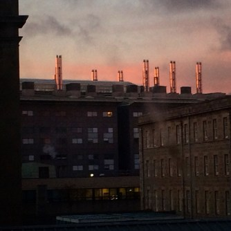 shiny chimneys through the hospital windows
