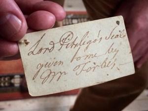 Label on Lord Pitsligo's letter seals