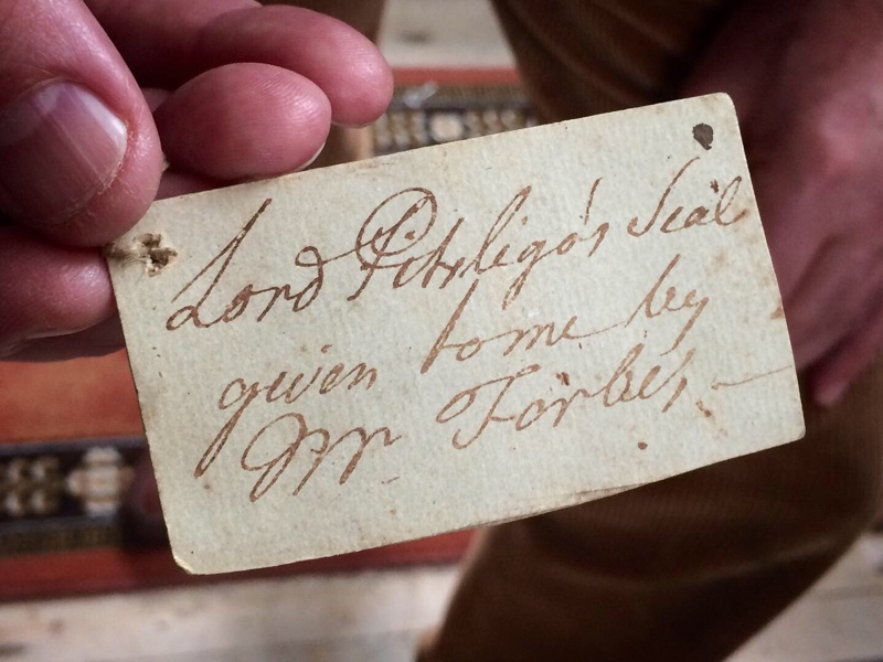 Label on Lord Pitsligo's letter seals