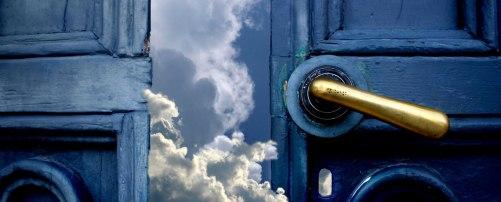 Blue door opening