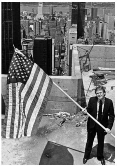 young trump holding flag