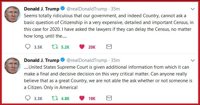trump tweet on census