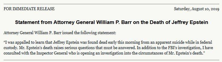 bill Barr statement