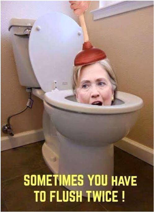 HIllary flush twice