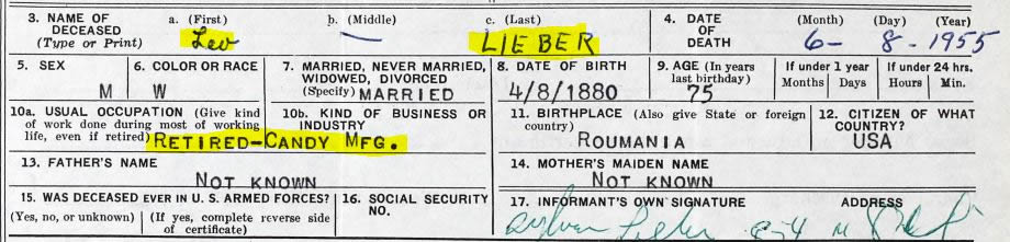Leo Lieber. (Jan. 08, 1955). Death Certificate, File No. 54620, Reg. No. 11047, Primary Dist. No. 5101-461, filed by son Sylvan Lieber. PA Bureau of Vital Statistics.