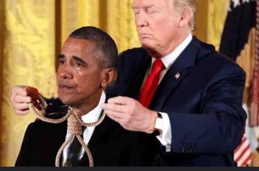 trump obama noose