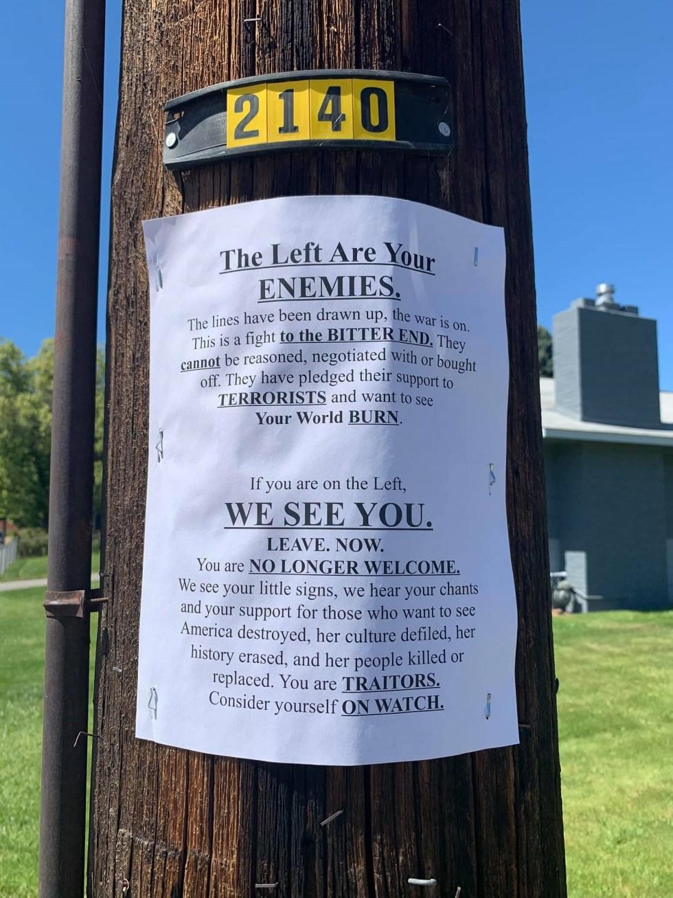 sign on utility pole