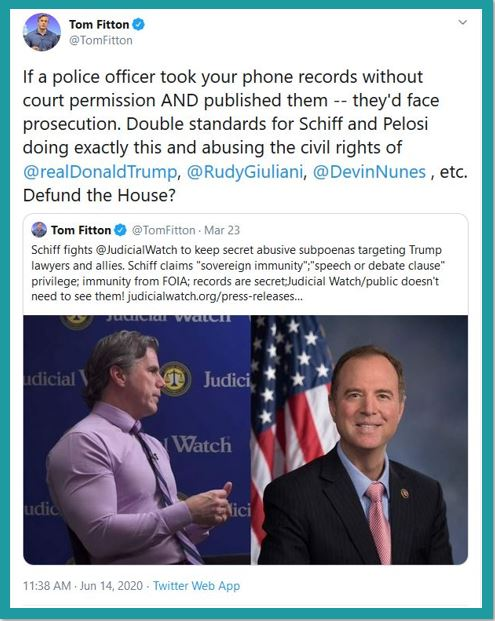 tom fitton police adam schiff