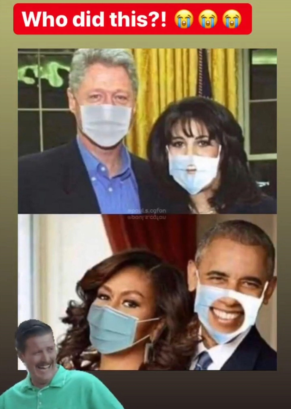 clinton obama face mask