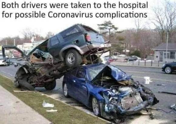 corona virus car crash