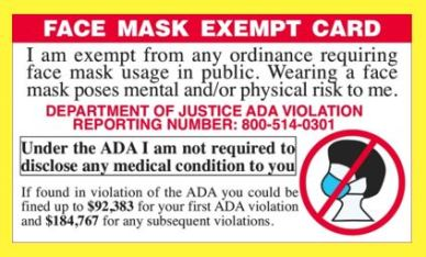 face mask exempt card trimmed