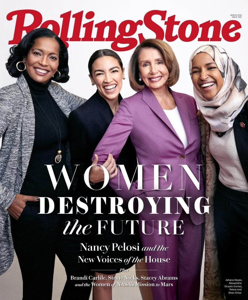 pelosi aoc and democrat women rolling stones