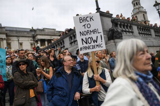 Jillian MacMath. (Aug. 29, 2020). PHOTO#04: Thousands of anti-lockdown protesters gather at Trafalgar Square in London. Wales Online. For educational purposes only. Fair Use relied upon.