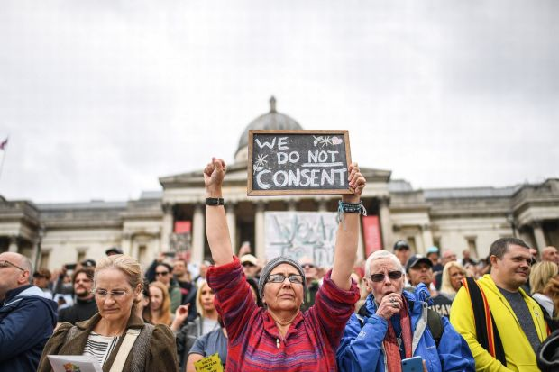 Jillian MacMath. (Aug. 29, 2020). PHOTO#05: Thousands of anti-lockdown protesters gather at Trafalgar Square in London. Wales Online. For educational purposes only. Fair Use relied upon.