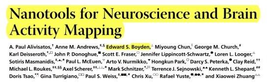 Peer Review Team, including Edward S. Boyden. (Mar. 20, 2013). Nanotools for Neuroscience and Brain Activity Mapping, Vol. 7, No. 3, 1850-1866. ACS Nano.