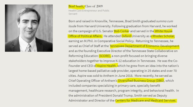 Brad Smith, Tennessee, Harvard, Rhodes Scholar, Oxford, Aspine Health, Diversified Business Group, Medicare, Medicaid. American Academy of Achievement aka British Pilgrims Society, Washington, D.C. subsidiary.