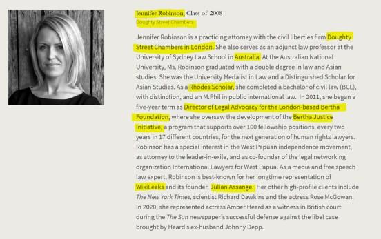 Jennifer Robinson, Rhodes Scholar, Oxford, Australia, Doughty Street Chambers, Julian Assange, West Papua, Johnny Depp. American Academy of Achievement aka British Pilgrims Society, Washington, D.C. subsidiary.