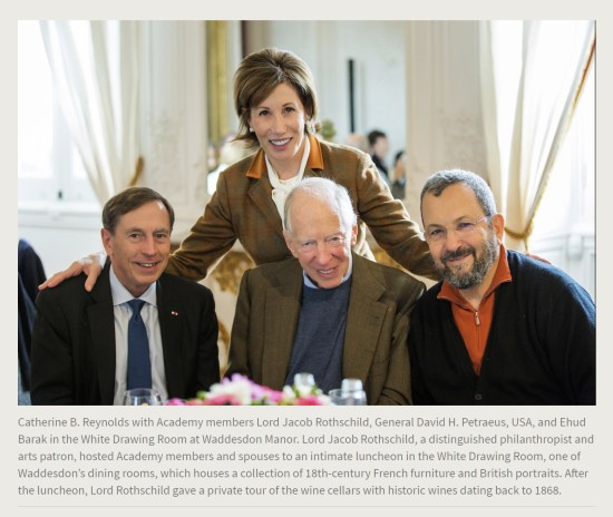 Press Release. (Oct. 10, 2017). 52nd International Academy of Achievement, London and Oxfordshire, keynote speaker Neil Gorsuch. U.S./UK Pilgrims Society. (Catherine B. Reynolds with Academy members Lord Jacob Rothschild, General David H. Petraeus, USA, and Ehud Barak in the White Drawing Room at Waddesdon Manor.)