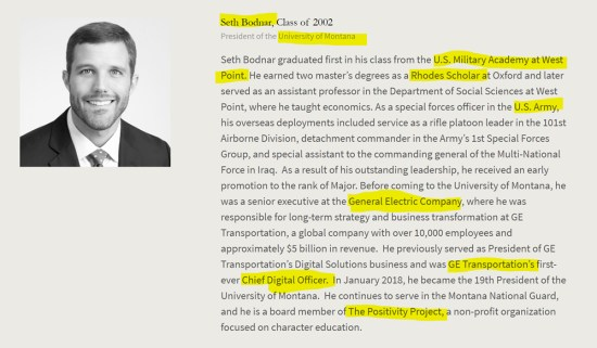 Seth Bodnar, US Army, General Electric, Chief Digital Officer, University of Montana. American Academy of Achievement aka British Pilgrims Society, Washington, D.C. subsidiary.